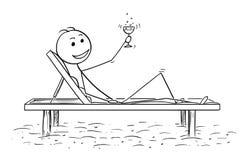 放松在海滩的成功的人概念性动画片 库存例证