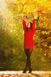 放松在秋天公园投掷的叶子的妇女悬而未决 库存照片
