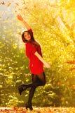 放松在秋天公园投掷的叶子的妇女悬而未决 免版税库存图片