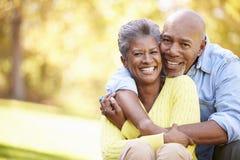 放松在秋天风景的资深夫妇 免版税库存照片
