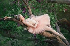 放松在花园里的嫩和浪漫芭蕾舞女演员 库存图片