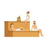 放松在蒸汽浴蒸汽房,温泉做法五颜六色的传染媒介例证的人佩带的毛巾 库存照片