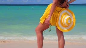 放松在蓬塔卡纳海滩的无忧无虑的年轻女人 加勒比假期 多米尼加共和国 股票录像