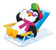 放松在阳光下与被冰的饮料的企鹅 库存图片
