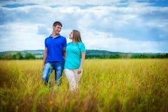 放松在领域的浪漫夫妇 库存图片
