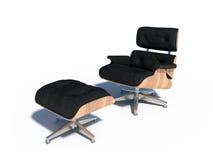 放松椅子黑色皮革木头 免版税图库摄影