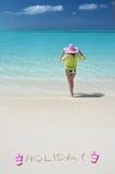 放松海滩的女孩 库存照片