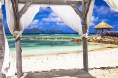 放松热带 塞舌尔群岛海岛 库存图片