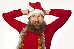 放松的圣诞老人 图库摄影