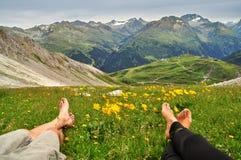 从放松的夫妇的脚看黄色花和绿草围拢的多雪的山在奥地利山 图库摄影