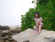 放松的女孩 图库摄影