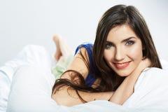 放松的妇女床 beauvoir 库存图片