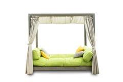 放松的室外沙发在白色背景 免版税库存照片