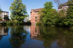 放松的沈默地方在城市,汉堡 库存图片