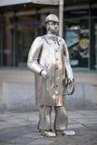 放牛者金属雕象在卡马森,威尔士 图库摄影