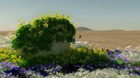 绽放的, 3d CG沙漠 免版税库存照片