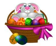 放置兔子的篮子兔宝宝逗人喜爱的复活节彩蛋 图库摄影