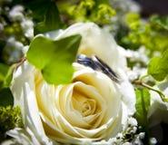 放置在一朵黄色玫瑰的婚戒 免版税库存图片