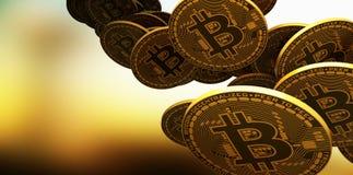 放置在反射性表面, 3d的许多金bitcoins翻译 库存照片