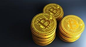 放置在反射性表面, 3d的许多金bitcoins翻译 免版税库存照片