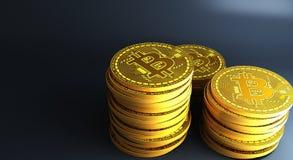 放置在反射性表面, 3d的金bitcoins翻译 免版税库存照片