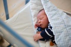 放置在小儿床的新出生的婴孩在产前医院 免版税库存照片