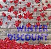 放置在木背景的冬天折扣和红色落的叶子 免版税库存照片