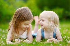 放置在草的两个逗人喜爱的妹 免版税库存照片