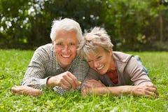 放置在草的愉快的资深夫妇 库存图片