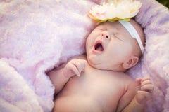 放置在软的毯子的打呵欠的新出生的女婴 库存图片