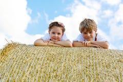 放置在麦田的干草捆的两个孩子特写镜头  库存照片