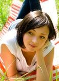 放置年轻人的域女孩 图库摄影