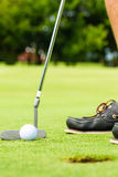 放置球的高尔夫球运动员在漏洞 库存照片
