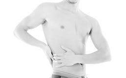 放置男性人肌肉脖子痛部分地严重肩膀疼痛的酸疼的回到河床成为不饱和的体验的图象伤害拉紧了 图库摄影