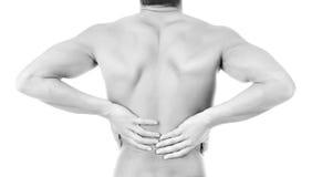 放置男性人肌肉脖子痛部分地严重肩膀疼痛的酸疼的回到河床成为不饱和的体验的图象伤害拉紧了 免版税图库摄影