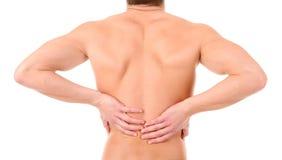 放置男性人肌肉脖子痛部分地严重肩膀疼痛的酸疼的回到河床成为不饱和的体验的图象伤害拉紧了 免版税库存照片