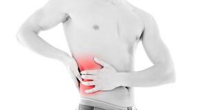 放置男性人肌肉脖子痛部分地严重肩膀疼痛的酸疼的回到河床成为不饱和的体验的图象伤害拉紧了 库存照片