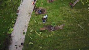 放置草草坪的花匠寄生虫4k录影在公园 空中英尺长度 Quadcopter视图视图从上面  股票视频
