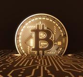 放Bitcoin入投币口在电路板 库存照片