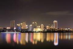 财政区(夜视图amoy城市) 库存图片