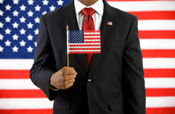 政客:拿着美国旗子 库存图片