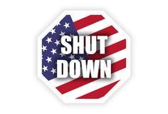 政府停工与美国国旗的美国概念 拒付 免版税图库摄影