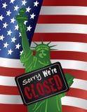 政府停工自由女神像闭合的标志例证 免版税库存照片