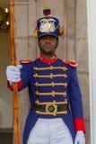政府卫兵,厄瓜多尔的总统的家。 免版税库存图片