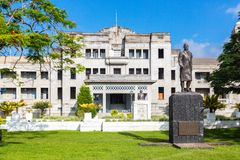 政府大厦在苏瓦 总理办公室 高的现场 议会 斐济岛,美拉尼西亚,大洋洲,南太平洋 免版税库存照片