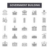 政府网和流动设计的建筑限界象 编辑可能的冲程标志 政府大厦概述概念 向量例证