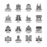 政府,公共建筑被设置的传染媒介象 向量例证