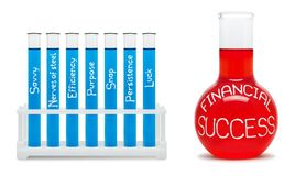 财政成功惯例。与蓝色和红色烧瓶的概念。 免版税图库摄影