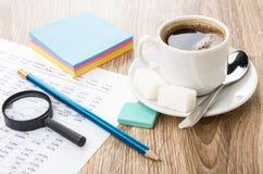 财政打印输出,铅笔,橡皮擦,放大镜,咖啡和 免版税图库摄影