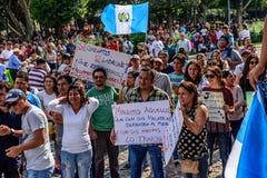 政治抗议,安提瓜岛,危地马拉 免版税库存照片